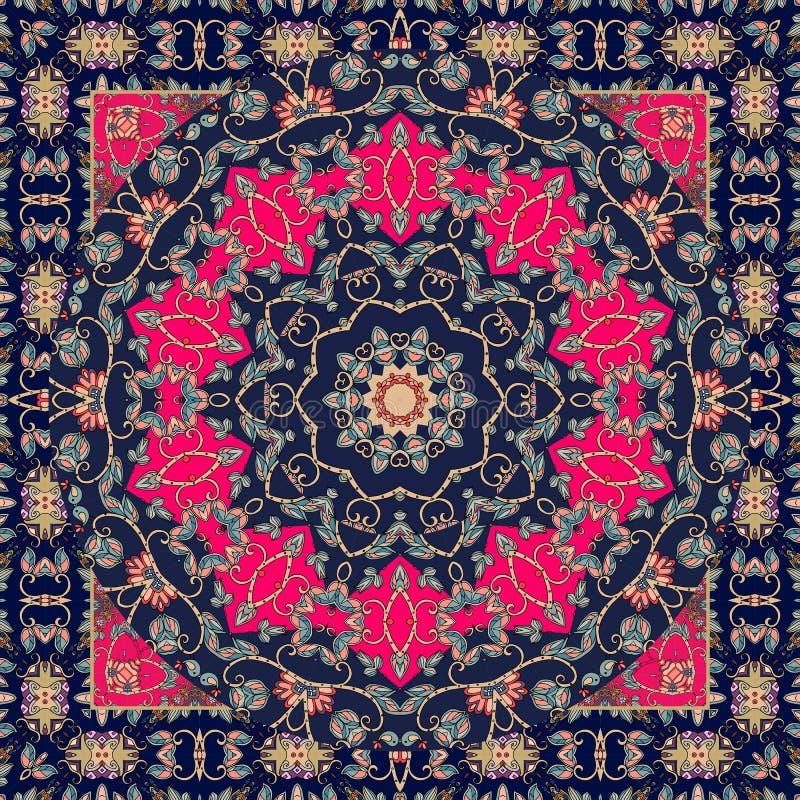 tapis Belle nappe dans le style ethnique avec les oiseaux de baiser mignons illustration stock