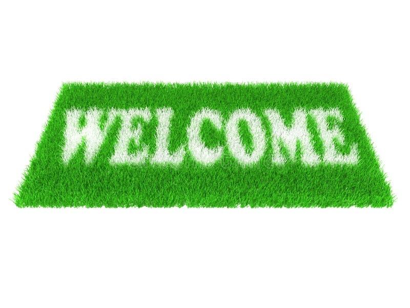 Tapis bienvenu d'herbe illustration stock