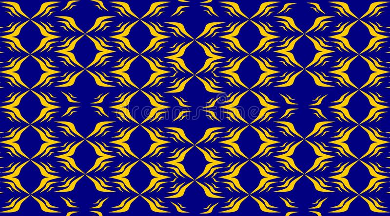 Tapis bleu abstrait avec la conception jaune de modèle illustration libre de droits