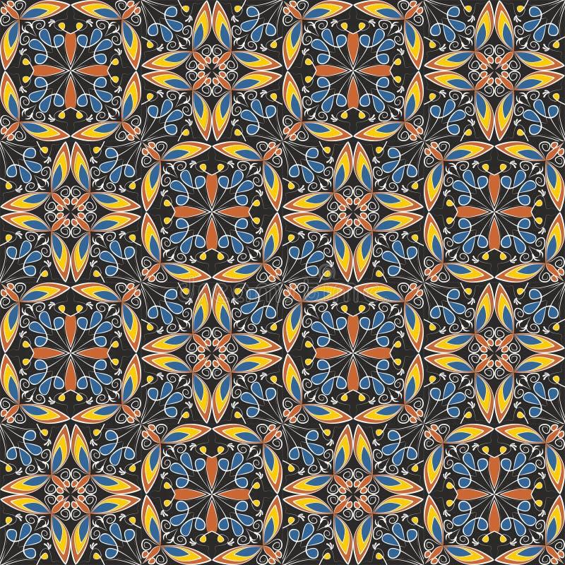 Tapis coloré oriental fin ou ornement en céramique dans des couleurs oranges et bleues avec les courbes blanches sur le fond noir illustration stock