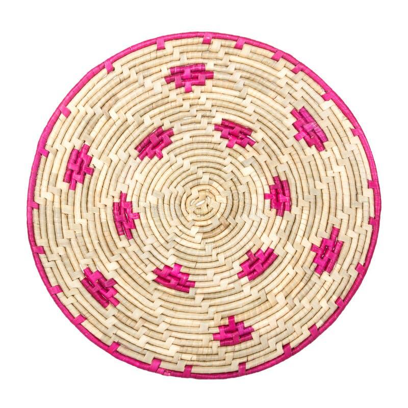Tapis d'endroit en osier en bambou circulaire de Tableau de paume de rotin d'armure image stock