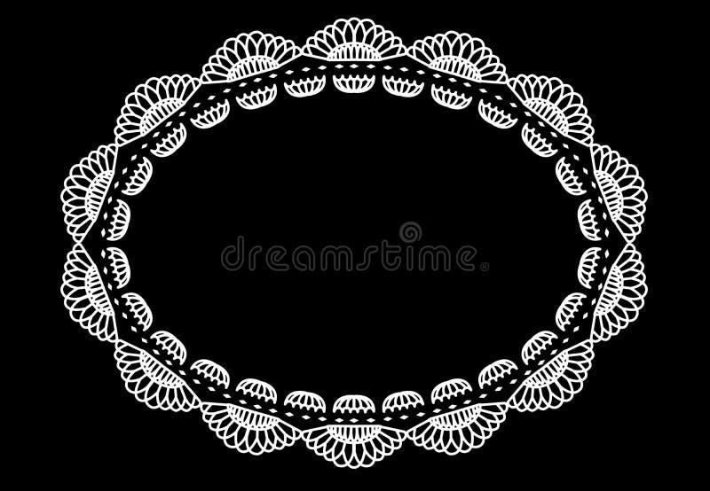Tapis d'endroit ovale de conception de dentelle de napperon illustration libre de droits