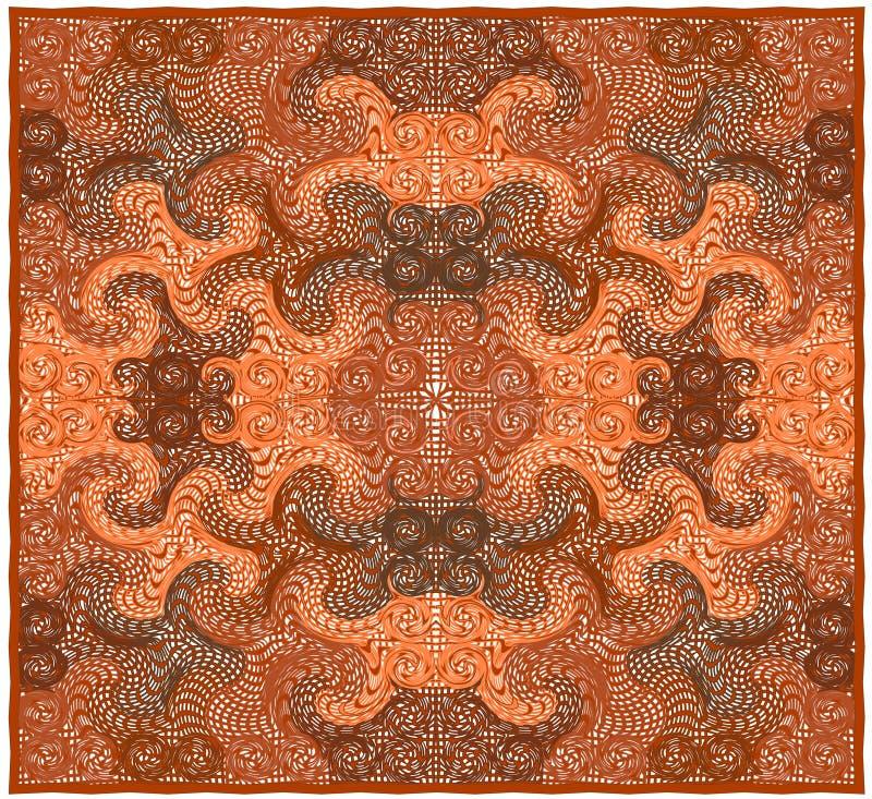 Tapis dans le style oriental avec le modèle ornemental symétrique dans des couleurs oranges et brunes illustration libre de droits