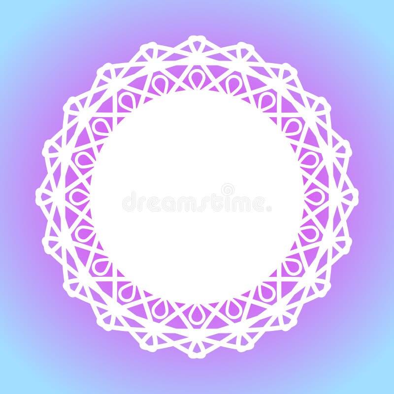 Tapis de gâteau de cadre de frontière de napperon de dentelle illustration de vecteur