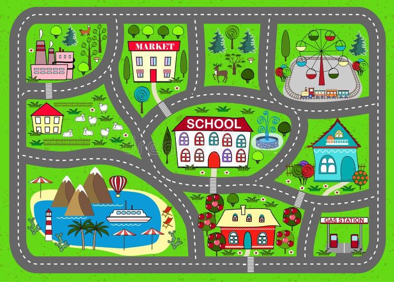 Tapis de jeu de route pour des enfants activité et divertissement images libres de droits