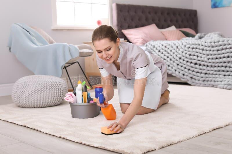 Tapis de nettoyage de femme photos stock