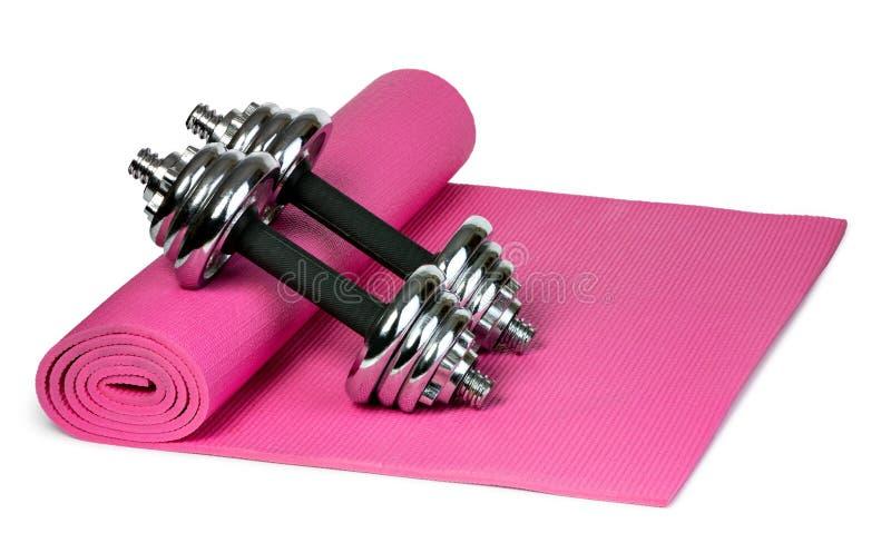 Tapis et halt?res de yoga photographie stock libre de droits