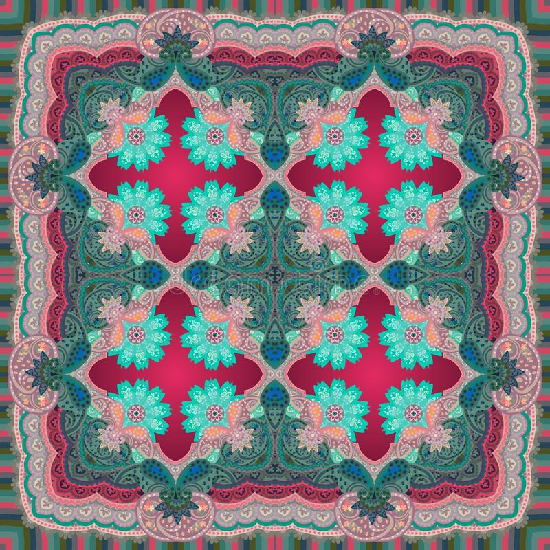 Tapis, nappe ou châle ethnique avec le beaux ornement de Paisley et fleurs de mandalas dans des tons cramoisis et verts foncés illustration de vecteur