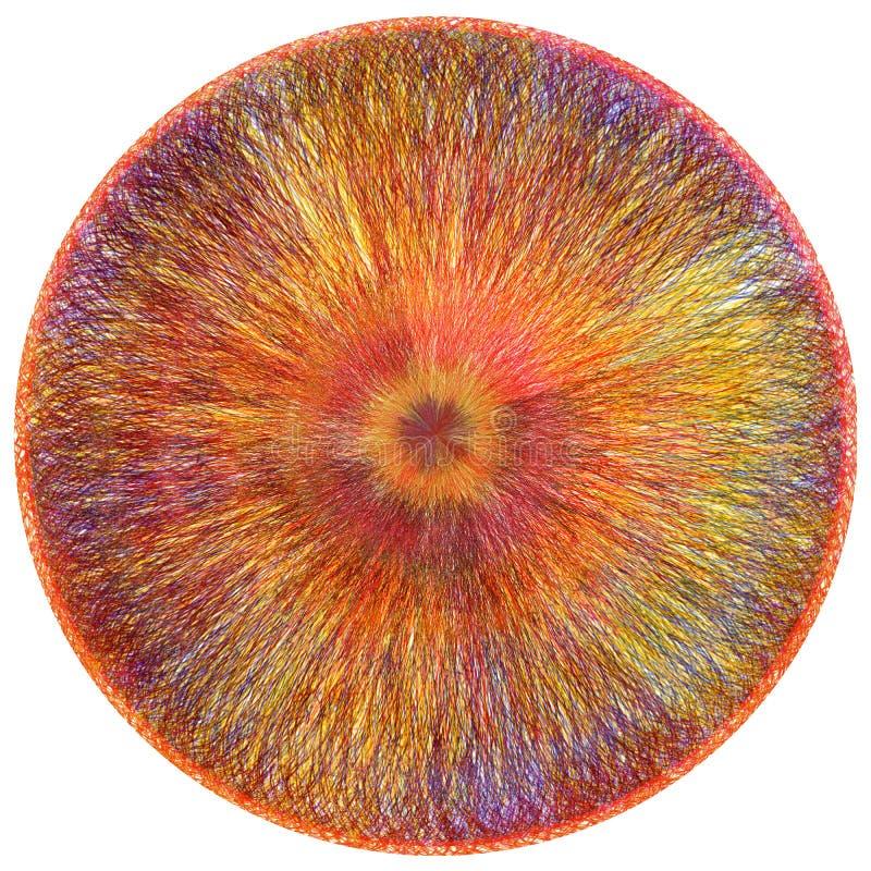 Tapis pelucheux rond avec le modèle coloré centrifuge rayé grunge d'armure illustration de vecteur