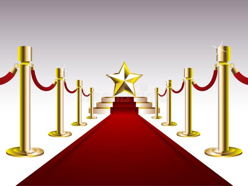 Tapis rouge avec l'étoile d'or illustration libre de droits
