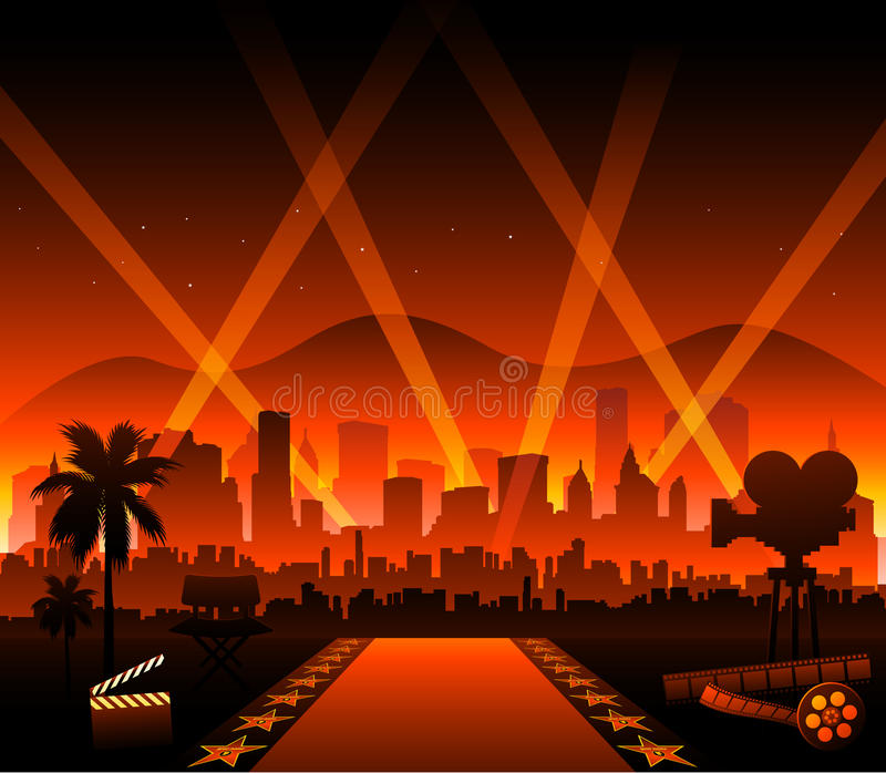 Tapis rouge de film de Hollywood illustration stock