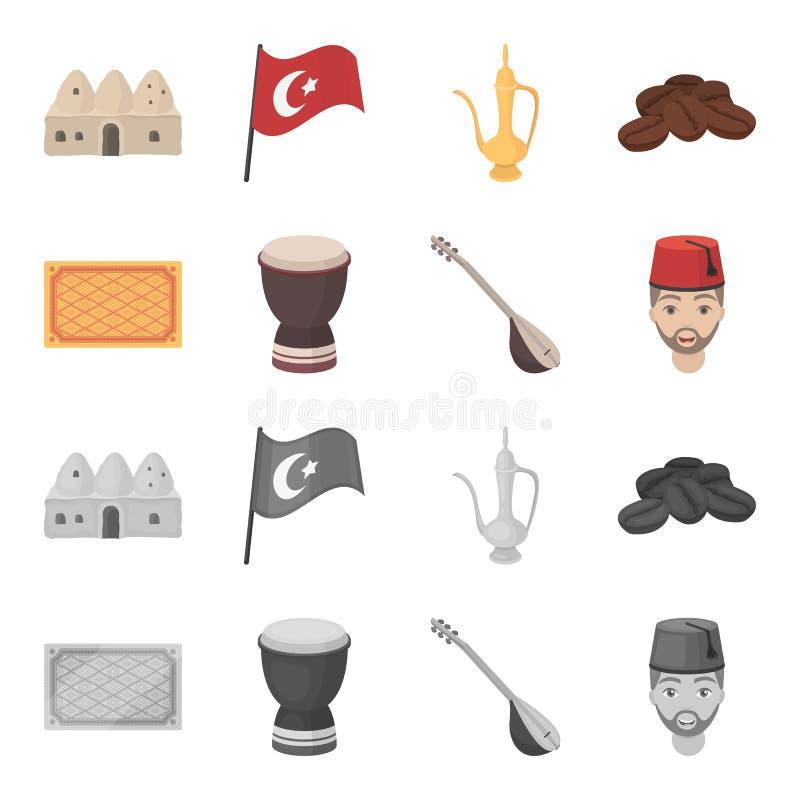 Tapis turc, saz, tambour, hommes turcs Icônes réglées de collection de la Turquie dans la bande dessinée, actions monochromes de  illustration de vecteur