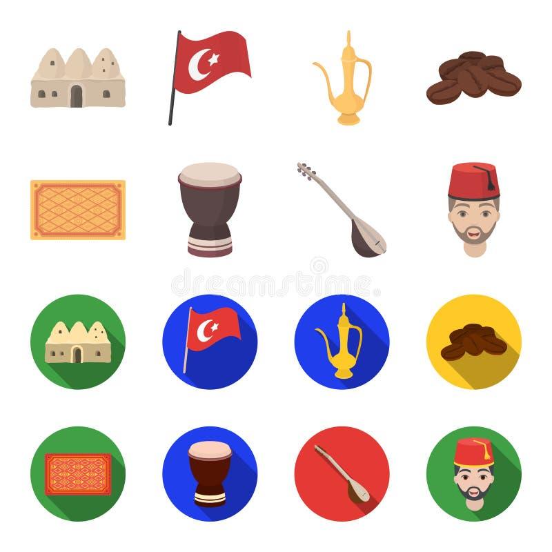 Tapis turc, saz, tambour, hommes turcs Icônes réglées de collection de la Turquie dans la bande dessinée, actions plates de symbo illustration libre de droits