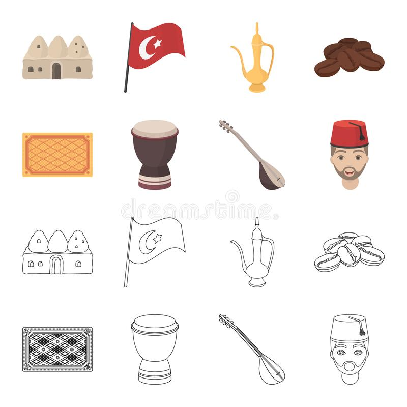 Tapis turc, saz, tambour, hommes turcs Icônes réglées de collection de la Turquie dans la bande dessinée, actions de symbole de v illustration de vecteur