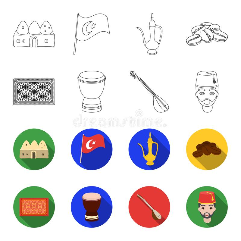 Tapis turc, saz, tambour, hommes turcs Icônes réglées de collection de la Turquie dans le contour, actions de symbole de vecteur  illustration stock