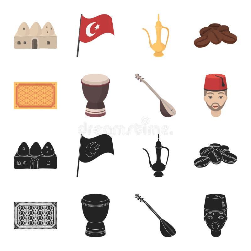 Tapis turc, saz, tambour, hommes turcs Icônes réglées de collection de la Turquie dans le noir, actions de symbole de vecteur de  illustration stock