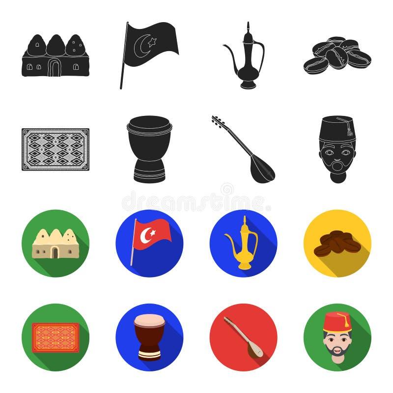 Tapis turc, saz, tambour, hommes turcs Icônes réglées de collection de la Turquie dans le noir, illustration d'actions de symbole illustration stock