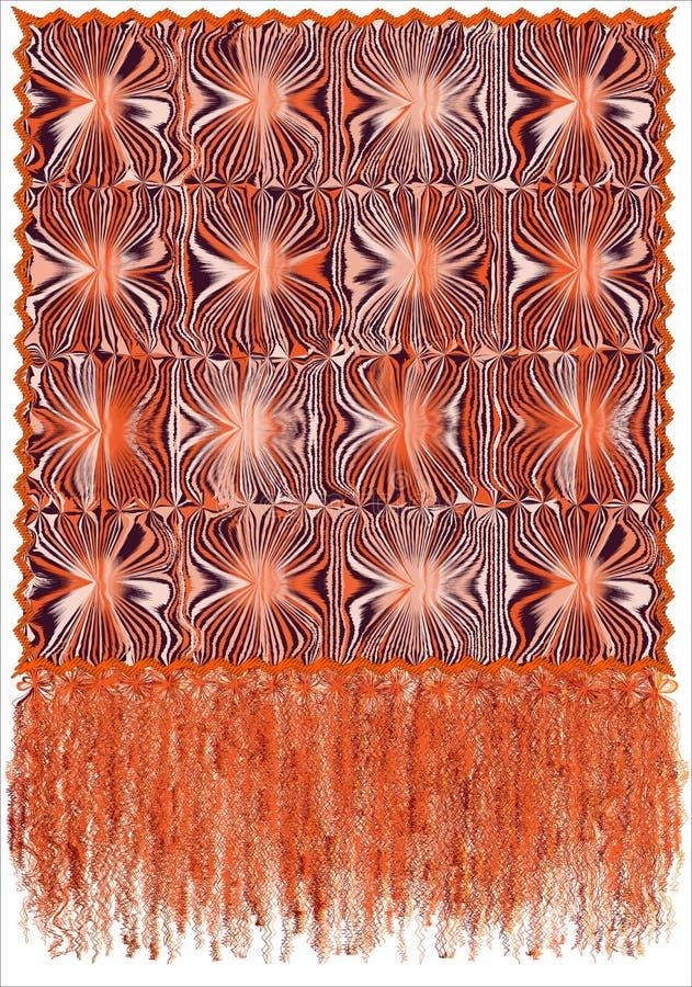 Tapisserie décorative avec le modèle rayé et souillé grunge, le cadre onduleux et la longue frange pelucheuse dans l'orange, coul illustration stock