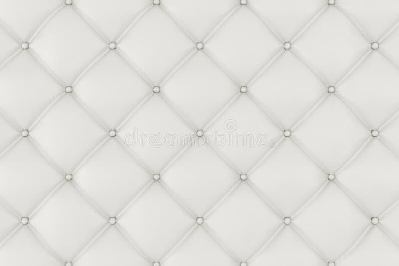 Tapisserie d'ameublement en cuir Sofa Background Sofa de luxe blanc de décoration Texture élégante de cuir blanc avec des boutons illustration stock