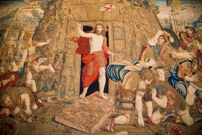 Tapisserie der Auferstehung stockbilder