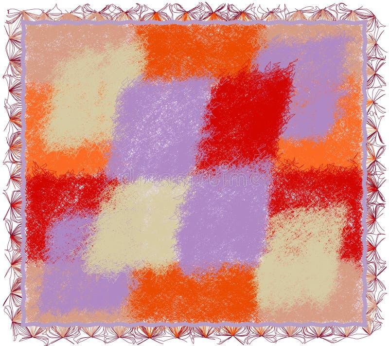 Tapisserie hirsute avec les éléments pelucheux et la frange d'armure colorée illustration libre de droits