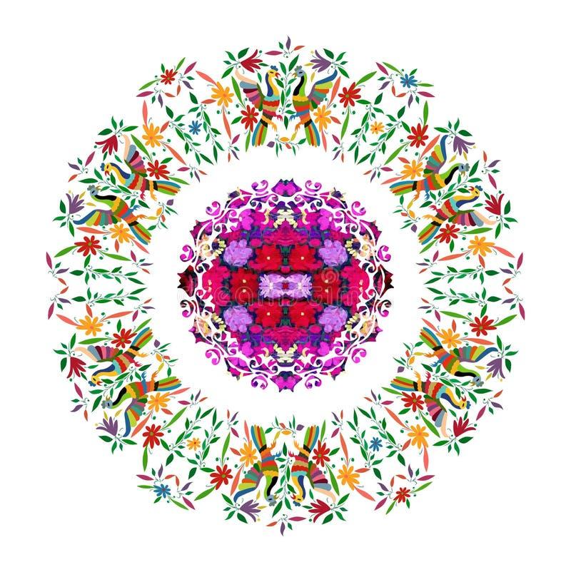 Tapisserie mexicaine ethnique avec la broderie florale et les animaux de jungle de paon faits main D?corations folkloriques d'imp illustration libre de droits