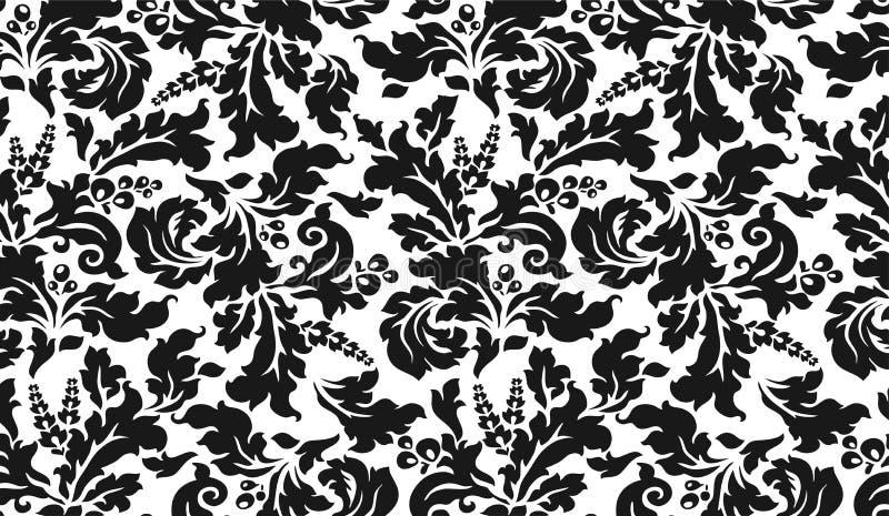 Tapisserie noire et blanche avec des fleurs illustration libre de droits