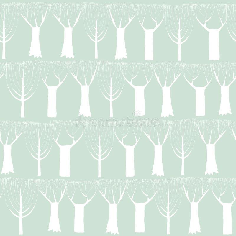 Tapisserie sans couture de modèle d'arbres dans le blanc illustration libre de droits