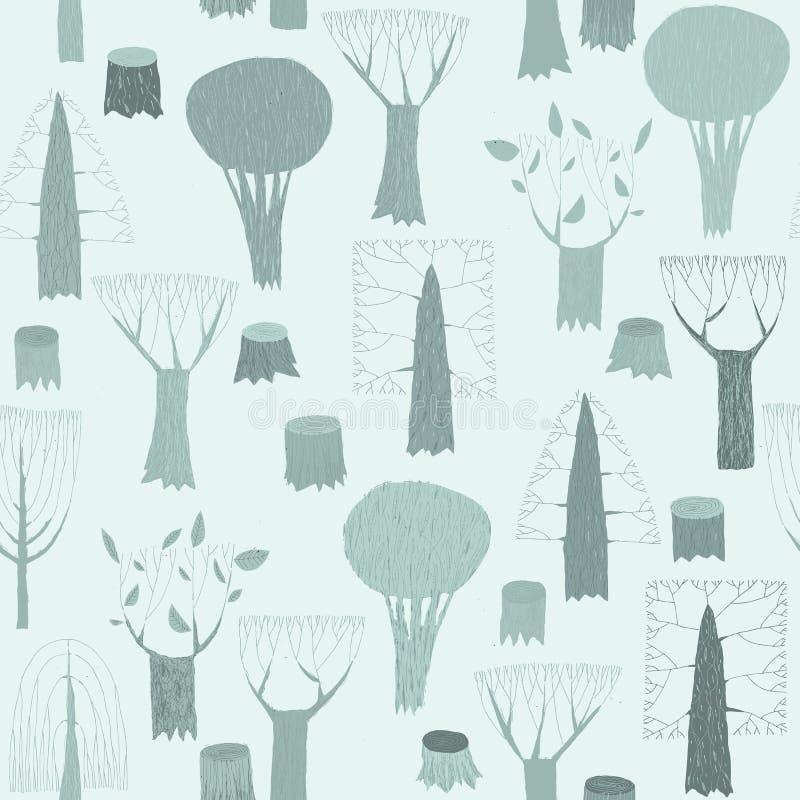 Tapisserie sans couture de modèle d'arbres dans le bleu illustration de vecteur