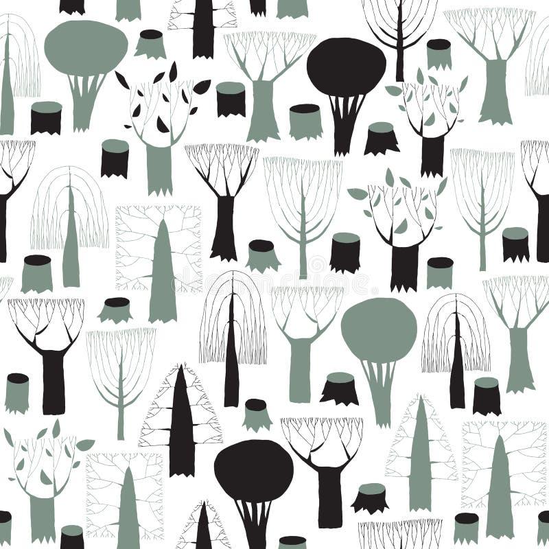 Tapisserie sans couture de modèle d'arbres dans le gris illustration de vecteur