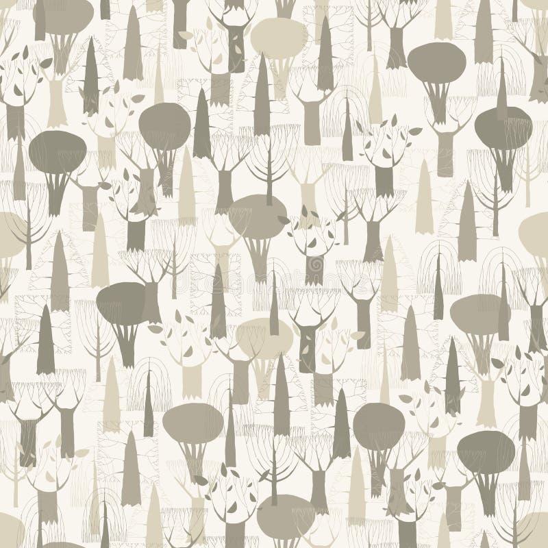 Tapisserie sans couture de modèle d'arbres dans le gris illustration libre de droits