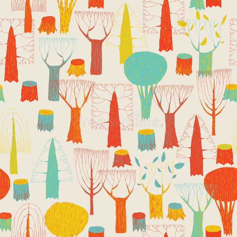 Tapisserie sans couture de modèle d'arbres dans les bruit-couleurs illustration de vecteur