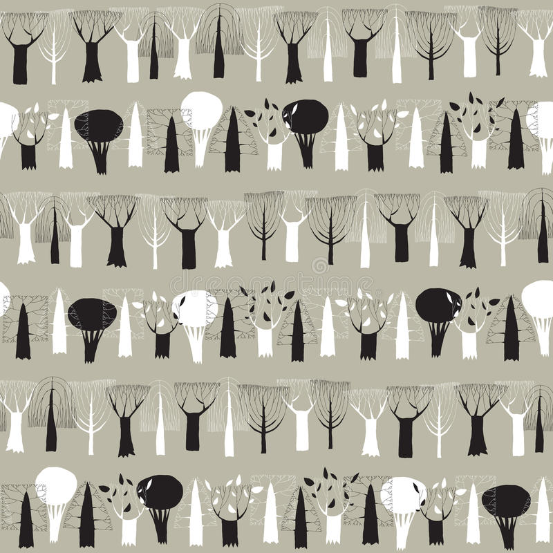 Tapisserie sans couture de modèle de rangée d'arbres en noir et blanc illustration de vecteur