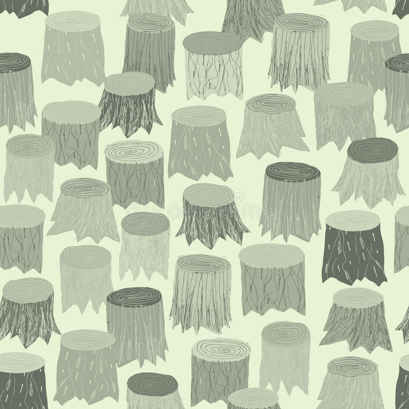 Tapisserie sans couture de modèle de tronçon d'arbre dans le gris illustration de vecteur