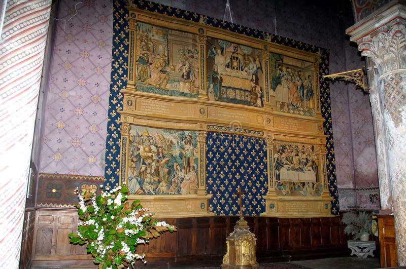 Tapisserie of St. Vincent Cathedral. In Chalon-sur-Saone. Brussels tapestry dating from 1510. The tapestry of the sixteenth century., To adorn the front of the stock photos
