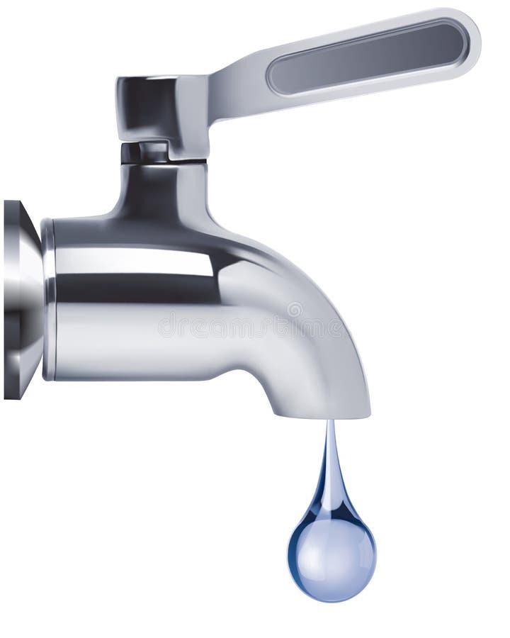 Tapkraan en water geïsoleerde daling stock illustratie