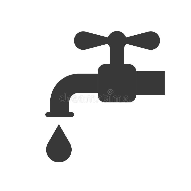Tapkraan en waterdruppeltjepictogram, die waterconcept bewaren royalty-vrije illustratie