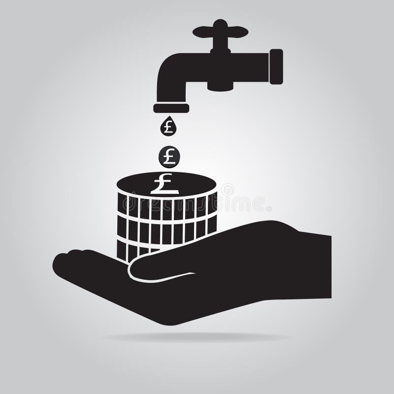 Tapkraan met het teken van het geldpond en handpictogram, sparen waterconcept vector illustratie