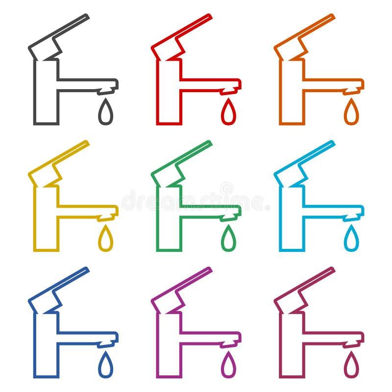 Tapkraan vectorpictogram, Vectorkraansymbool, geplaatste kleurenpictogrammen vector illustratie