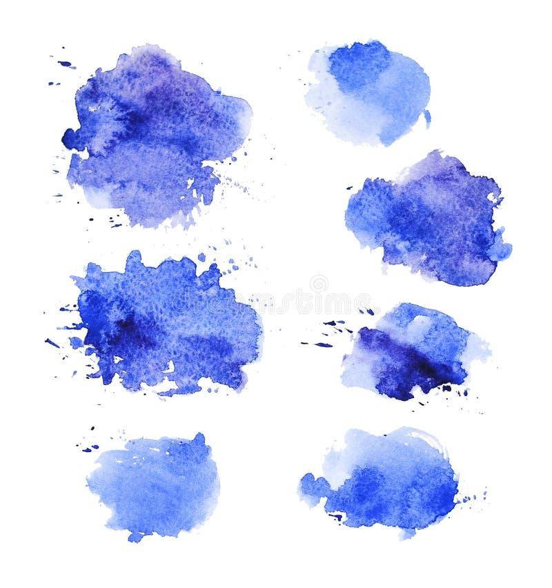 Tappar konstnärlig abstrakt målarfärg för vattenfärgen samlingen som isoleras på vit bakgrund stock illustrationer