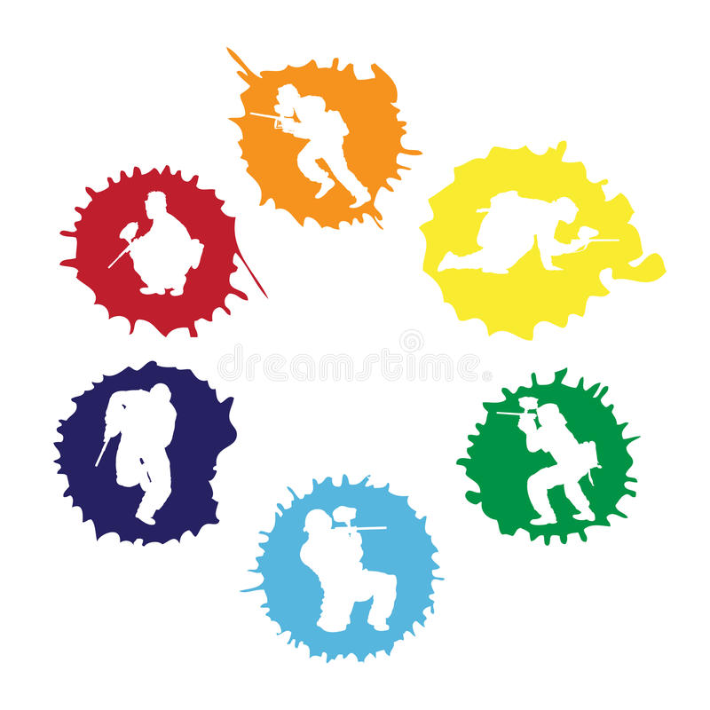 tappar paintballsilhouettes royaltyfri illustrationer