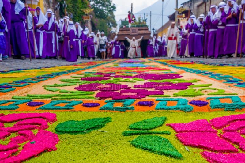 Tappeti di Pasqua in Antigua Guatemala immagine stock