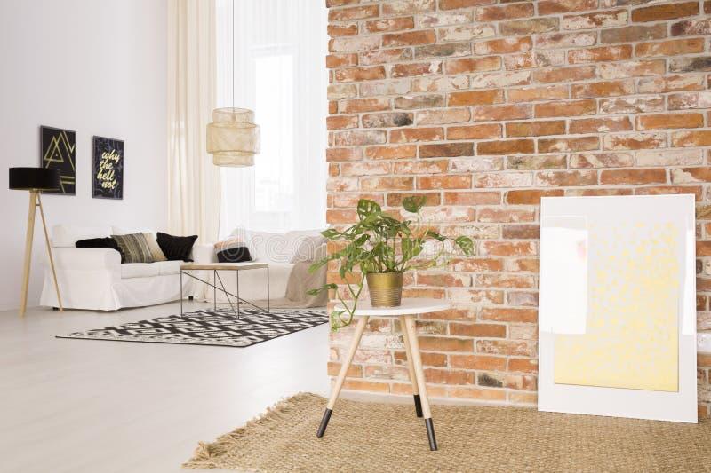 Tappeto e pianta di vimini fotografia stock