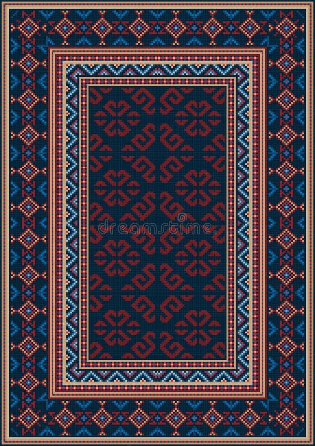 Tappeto orientale d'annata in blu scuro con i modelli dei colori rossi, beige, blu e marrone rossiccio illustrazione di stock