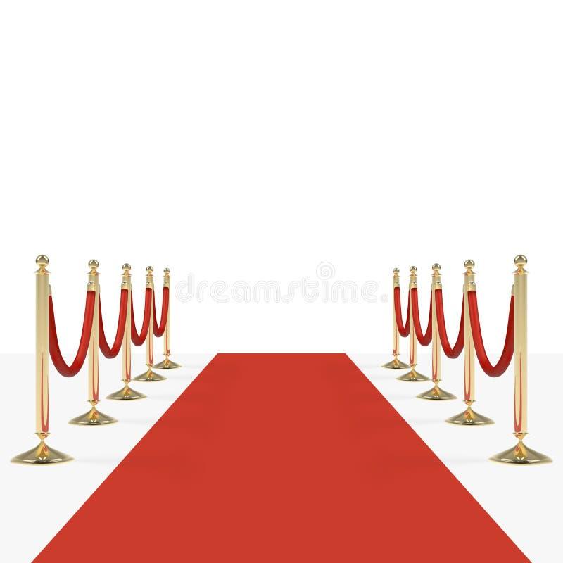 Tappeto rosso con le corde rosse sui sostegni dorati illustrazione di stock