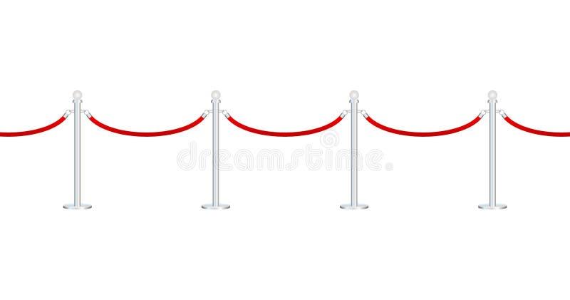 Tappeto rosso con le corde rosse sui sostegni dorati L'evento esclusivo, il prima di film, il gal?, cerimonia, assegna il concett illustrazione vettoriale