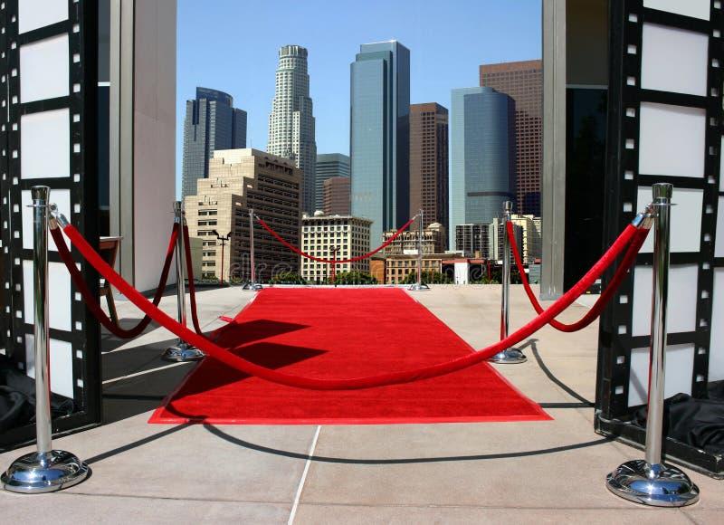 Tappeto rosso e Los Angeles dow fotografia stock