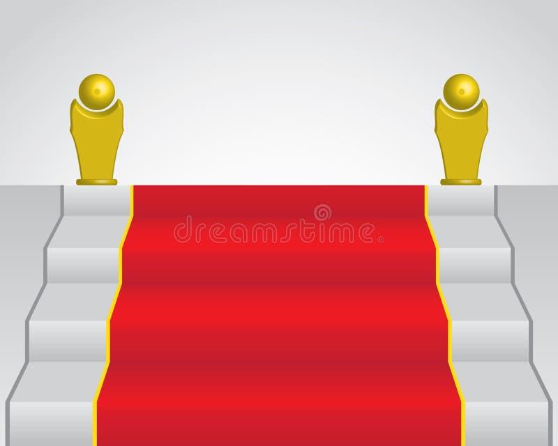 Tappeto rosso e statua dorata due