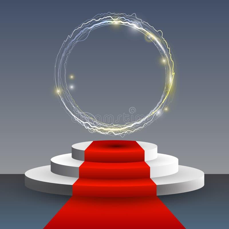 Tappeto rosso ed il podio con i cerchi, l'abbagliamento e le luci magici astratti immagine stock