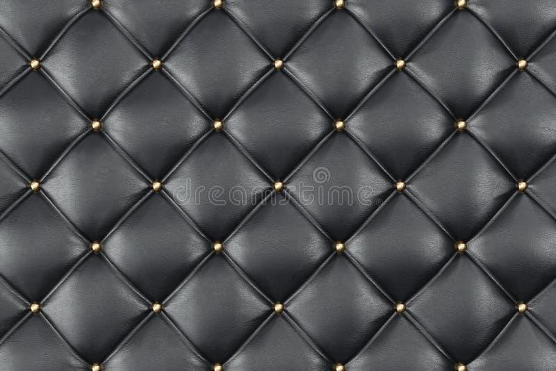 Tappezzeria di cuoio Sofa Background Sofà di lusso nero della decorazione Struttura di cuoio nera elegante con i bottoni per il m royalty illustrazione gratis